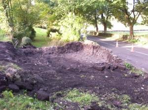 After mechanical excavation - photograph taken from the NE SE corner.