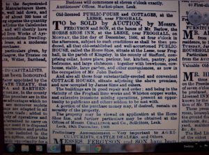 Sale of Horseshoe Inn, Whiston Leys 1866